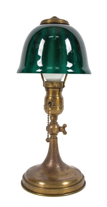 Fully Functional Diminutive Early 20th Century Factory Office Emeralite Jr Articulating Desk Lamp With Striking Emerald Green Cased Gl Shade