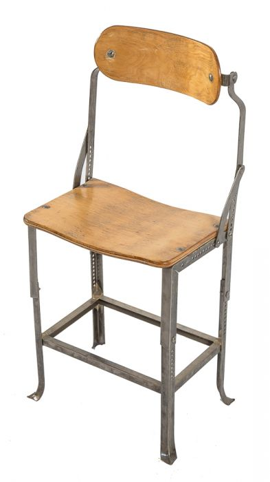 Amazing Rare C 1930S Vintage Industrial No 280 Angled Steel Salvaged Chicago Factory Office Posture Chair With Original Birch Wood Seat And Backrest Lamtechconsult Wood Chair Design Ideas Lamtechconsultcom