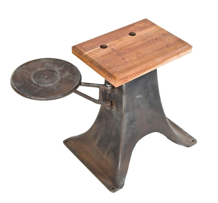 Refinished Low Lying Antique American Industrial Cast Iron Machine Base With Newly Added Chamfered Edge Tabletop And Swing Out Circular Platform