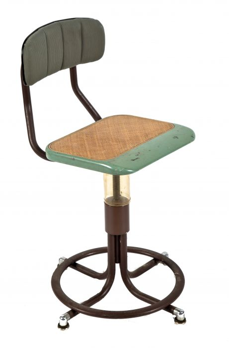 One Of Two Nearly Identical American Depression Era Telephone Company Switchboard Chairs Or Stools With Adjustable Height Seat And Curvaceous
