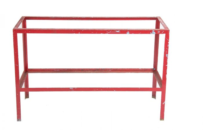 Tremendous Long And Narrow Vintage American Industrial Red Painted Tubular Steel Workbench Or Table Base Beatyapartments Chair Design Images Beatyapartmentscom