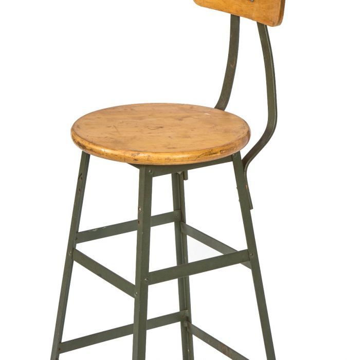 Outstanding Well Maintained Vintage American Industrial Salvaged Chicago Pollard Green Factory Machinist Stool With Maple Wood Seat Lamtechconsult Wood Chair Design Ideas Lamtechconsultcom