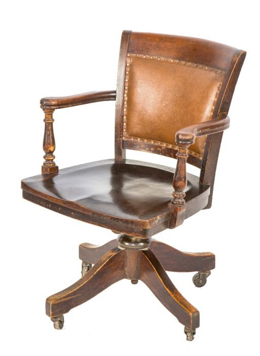 Late 19th Or Early 20th Century Adjustable Johnson Office Desk Chair Comprised Of Solid Birch Wood With Original Cushion