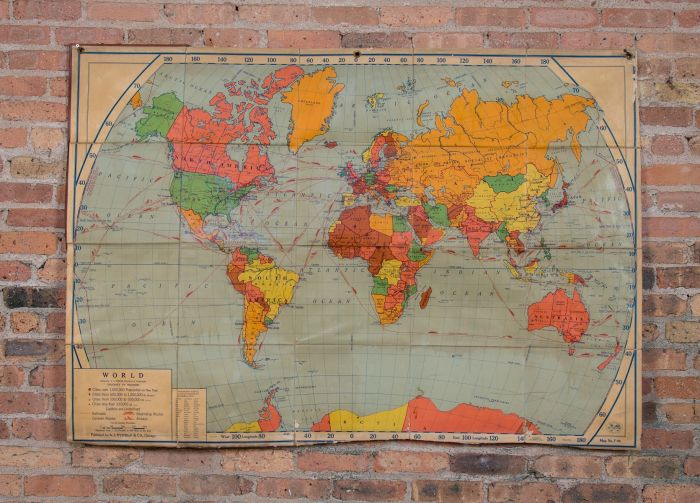 rare all original oversized salvaged chicago public school world map  featuring railroad, steamship, and airway routes