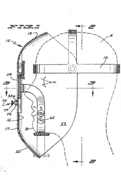 [SCHEMATICS_48DE]  original and largely intact vintage american industrial factory machine  shop welding helmet with patented hinged eye | Welding Shield Diagram |  | Urban Remains