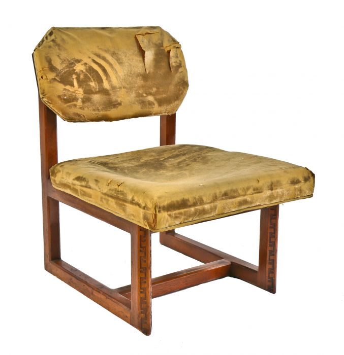 Pair Of Matching Interior Residential Frank Lloyd Wright Designed Chairs For Heritage Henrendon Featuring Historically Important Taliesin Design In