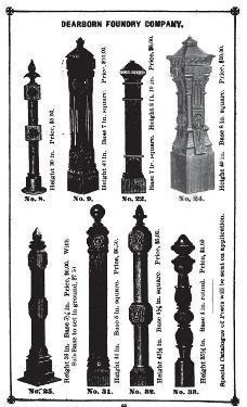 Single 19th Century All Original And Intact Chicago Style Exterior Ornamental Cast Iron Newel Post With Openings For Tubular Wrought Railings