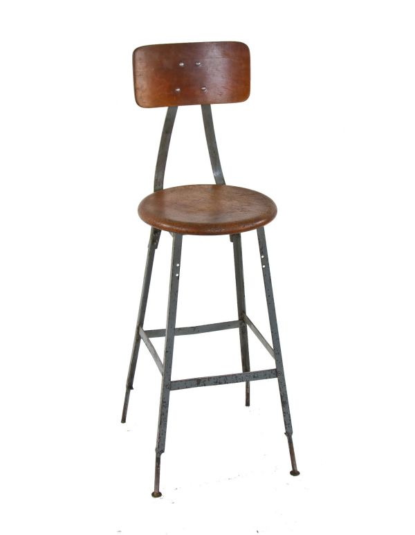 Stupendous Pollard Green Enameled Factory Workbench Angled Iron Stool Evergreenethics Interior Chair Design Evergreenethicsorg