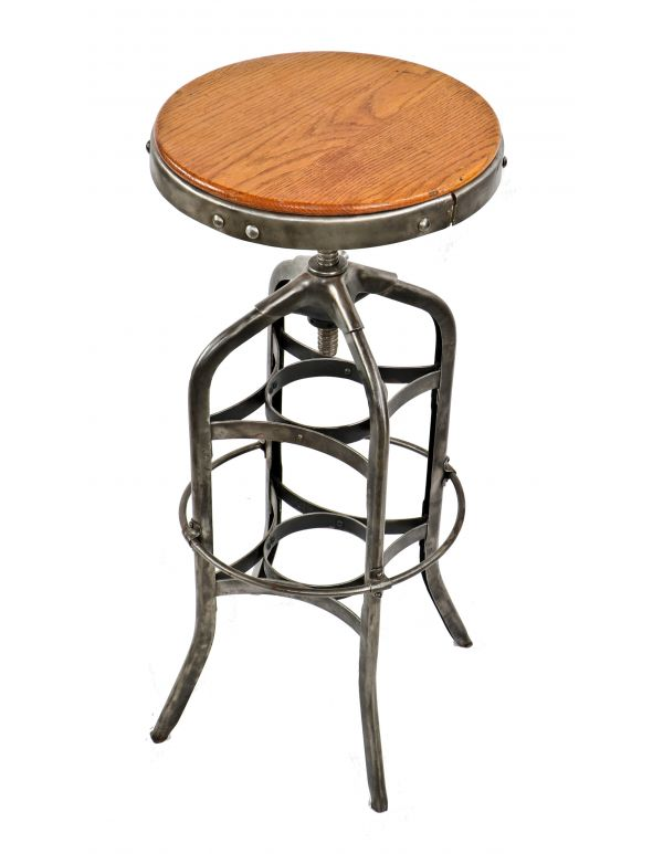 Antiques Benches & Stools Disciplined Lot Of 3 Vintage Industrial Factory Draftsman Stool Chair Drafting Metal Chairs Modern And Elegant In Fashion