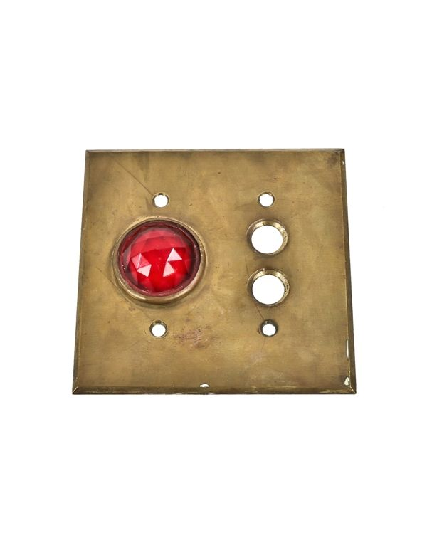 antiquated electrical devices devices & components artifacts receptacle box 1920's original and intact flush mount masonic temple push button switch plate with