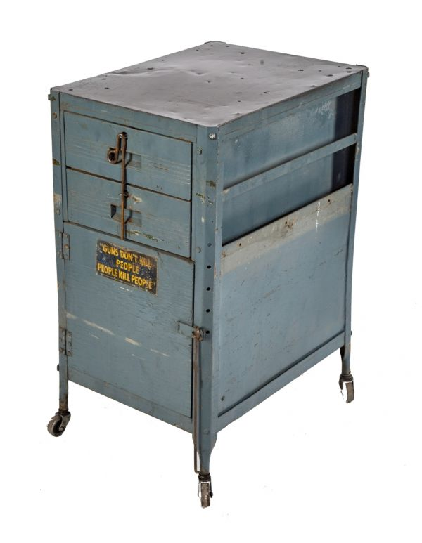Vintage Industrial Steel Metal Storage Bin Box One