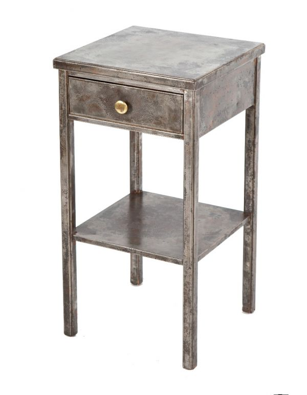 Highly Sought After Original Salvaged Chicago Brushed Metal Four Legged Simmons Side Table With Drawer