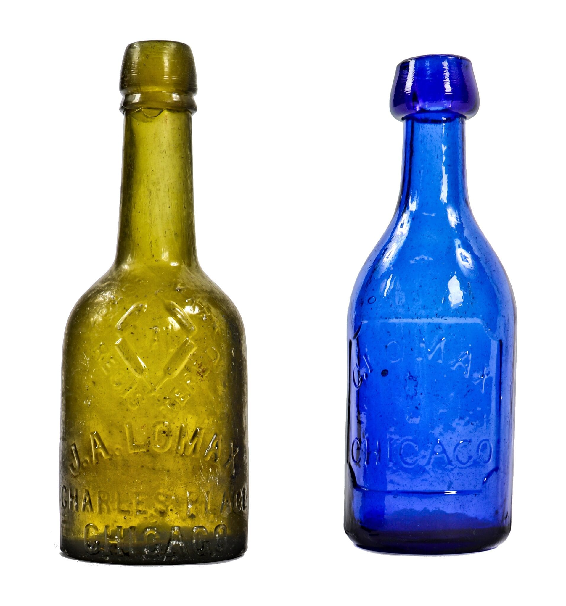 rare 1850\'s teal-colored ainsworth and lomax glass bottle recently ...