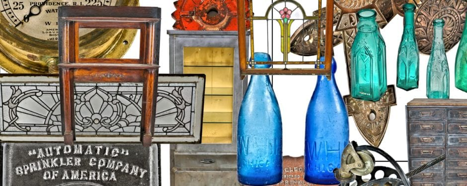 recent acquisitions include vintage medical furniture, stained glass, millwork, unearthed bottles, gauges, terra cotta