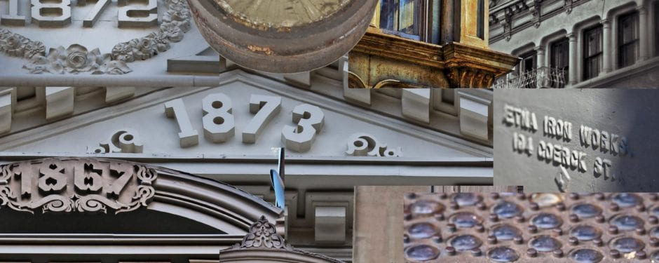 an intimate look at new york soho's cast iron facade ornament, vaulted sidewalks and informational plaques