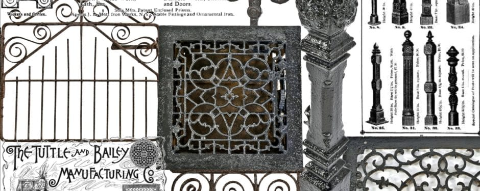 """sizable collection of """"chicago style"""" cast iron newel posts, interior floor registers, and f.p. smith ornamental iron added to online catalog"""