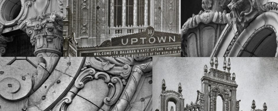 photographic study of uptown theater's ornamental terra cotta facade
