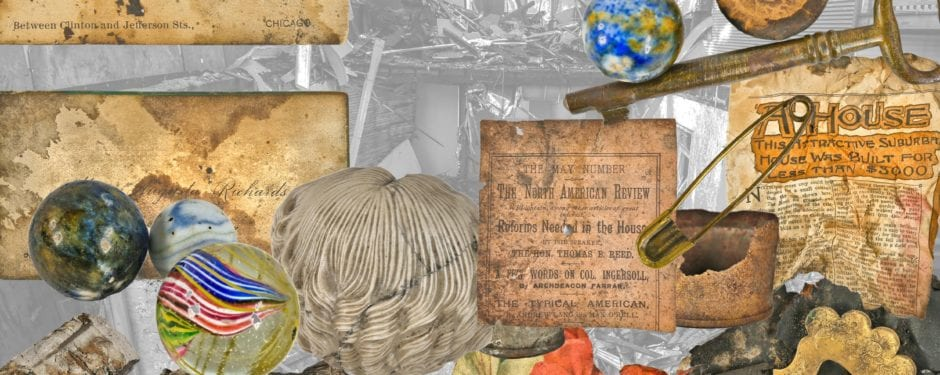 photographic study of 19th century objects discovered in stud cavity of post-fire chicago cottage during its demolition
