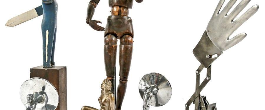 hand-carved artists mannequin, american radiator plaque, simmons desks, fireplace andirons, benjamin cluster sockets