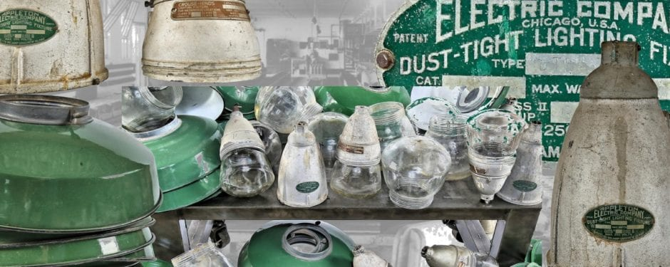 """hundreds of world war ii ammunition plant """"explosion proof"""" green porcelain enameled industrial fixtures acquired by urban remains"""