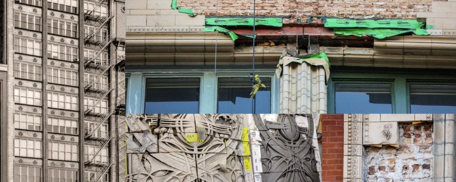"""exposed """"wounds"""" along the terra cotta facade of louis sullivan's gage building remain undressed and prone to the elements"""