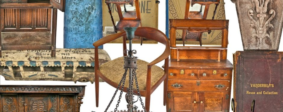 eclectic mix of mid-century furniture, a 19th century copper saloon sink, keystones, and a carved cherry overmantel