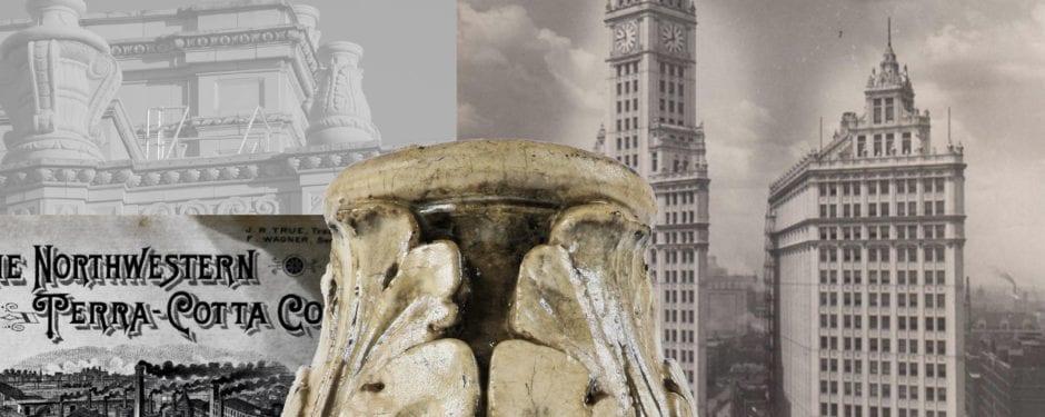 original cream-colored wrigley building ornamental terra cotta fragment joins bldg. 51 museum collection