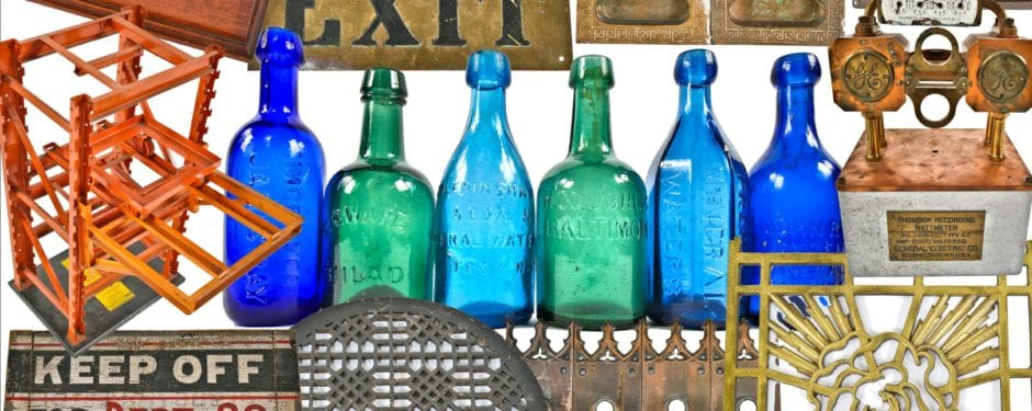 wide array of old signage, salesman samples, 19th century east coast soda bottles, faries lighting, and builders' hardware