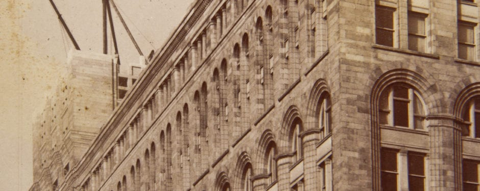 rare albumen print captures adler & sullivan's auditorium building with iconic tower under construction