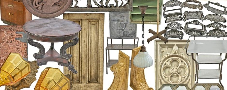 art deco slip shade fixtures, vintage examination room furniture, palmolive building elevator indicators, majolica tiles, and figural brownstone rondels