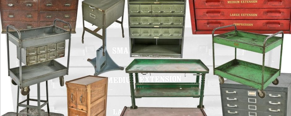 vast assortment of vintage american industrial furniture salvaged from zim mfg. company factory