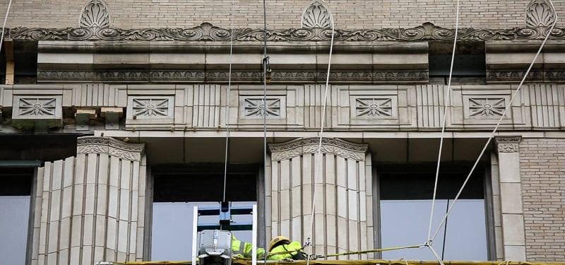 former chicago evening post building undergoing facade restoration