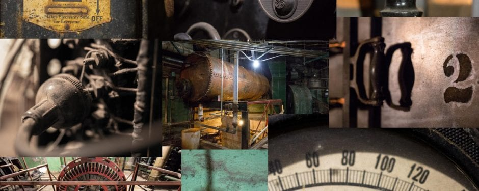 a photographic study of congress theater's original basement level mechanical and electrical equipment
