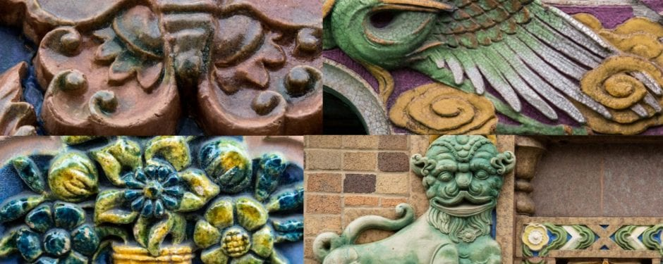 a repository of brilliantly colored building terra cotta designed by architects michaelsen and rognstad