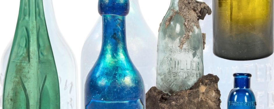 a selection of five unearthed chicago bottles with compelling narratives