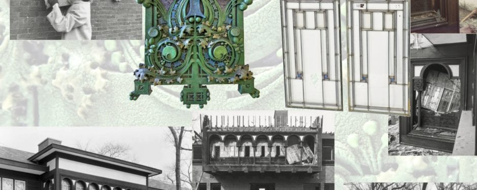 images chronicling ornament salvage from louis h. sullivan's henry babson house during its demolition in 1960