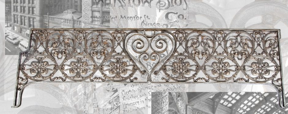 historically important john burnham root-designed ornamental iron header panel latest addition to bldg. 51 museum architectural artifact collection