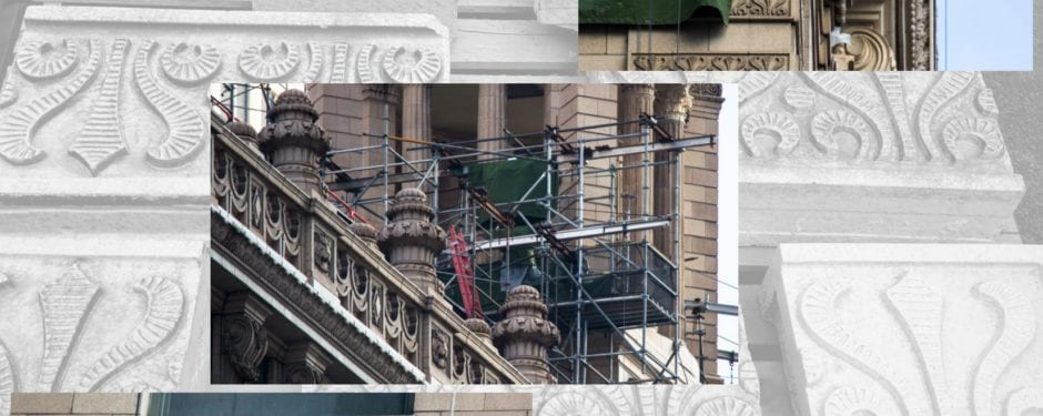 documenting jewelers' building terra cotta exterior and tower restoration work over the weekend