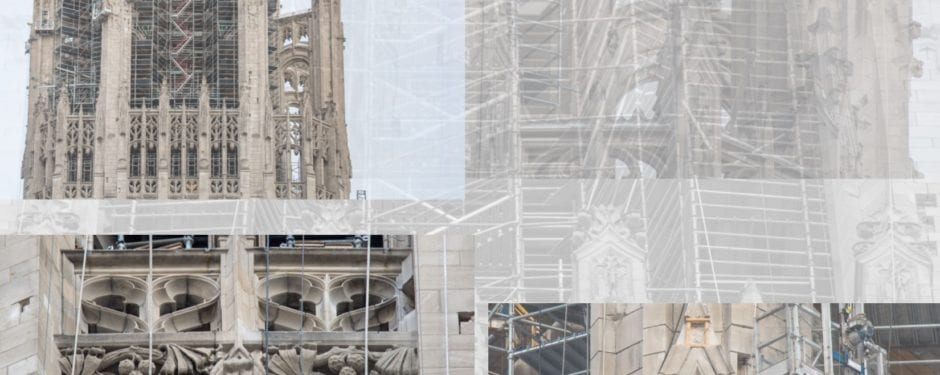 chicago tribune tower crown shrouded in scaffolding as exterior restoration continues