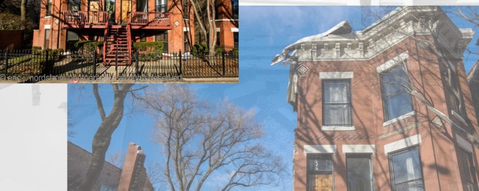 19th century webster street italianate rowhouses with minton tile insets undergoing demolition