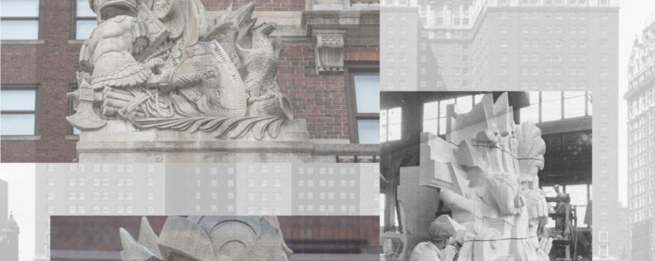 a photographic study of holabird and roche's stevens hotel exterior ornamental bedford limestone ornament