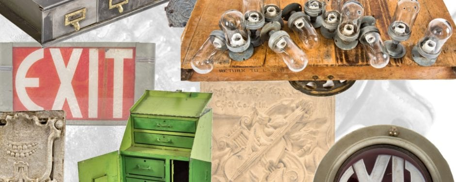 latest salvaged chicago architectural artifacts, industrial furniture, ephermera, and objects